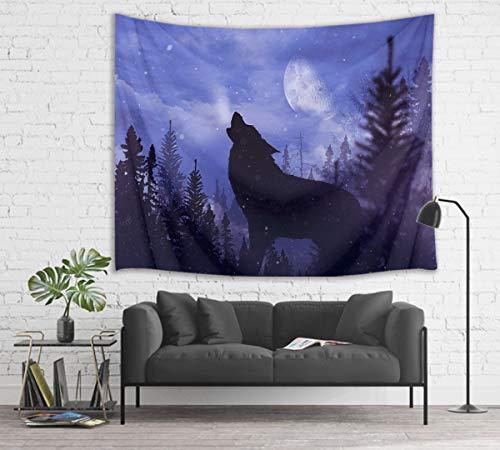 HVEST Tapeçaria de lobo selvagem predador uivo na selva parede lua cheia cenário noite tapeçarias de parede para quarto, sala de estar, dormitório, parede, 150 cm de largura x 130 cm de altura