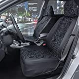 BDK Black Leopard Print Car Seat Covers, Front Seats Only – Animal Pattern Front Seat Cover Set with Matching Headrest, Sideless Design for Easy Installation, Universal Fit for Car Truck Van and SUV