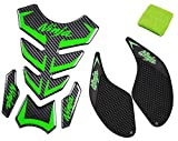 REVSOSTAR 5D Real Carbon Fiber, Motorcycle Decal Vinyl Tank Protector, Fuel Knee Grip Decal, Tank Pad with Brake Reservoir Sock Cover for Ninja 250 300 2008-2016, 3 Pcs Per Set