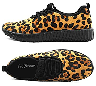 SF Forever Link Remy-18 Women's Jogger Sneaker-Lightweight Glitter Quilted Lace Up Shoes New (6.5 B(M) US, Leopard-18)