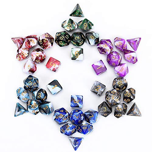 FLASHOWL Polyhedral Dice Set Table Games Dice 6 Sets Dice 6 x 7 Die Series D20, D12, D10, D8, D6, D4 DND Dice DND Rpg MTG Double Colors One Piece, 6 Sets with 6 Colors (42 Pieces)