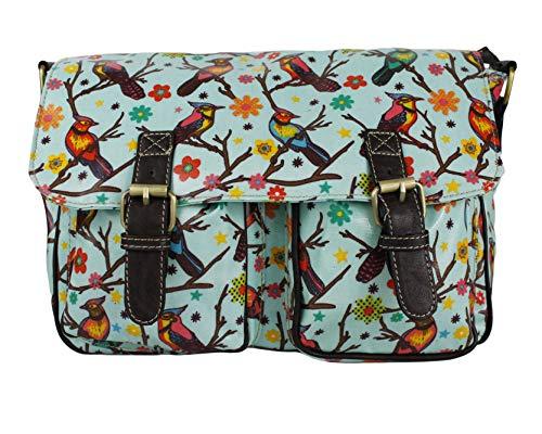Ladies Birds/Owl/Animals Print Medium Waterproof Satchel Girl School Shoulder Messenger Handbag (Bird Turquoise)