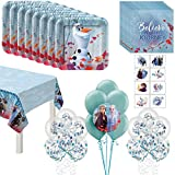 Party City Disney's Frozen 2 Birthday 77 Piece Party Kit for 16 Guests, Party Supplies, Includes Tableware, Table Cover and Balloons