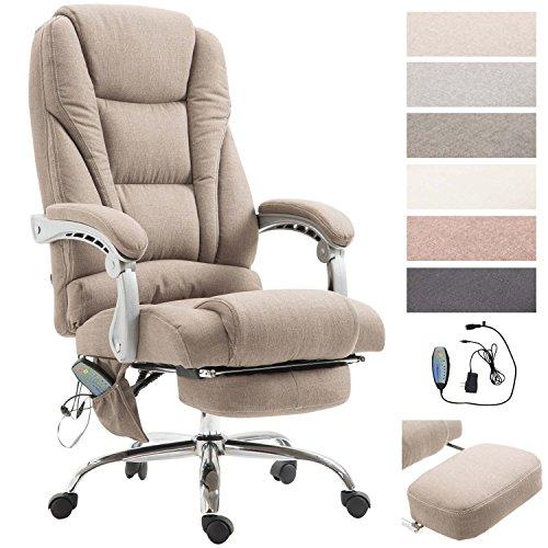 Chefsessel Pacific Stoff mit Massagefunktion l Höhenverstellbarer Bürostuhl mit ausziehbarer Fußablage l Max. belastbar bis 150 kg, Farbe:Taupe