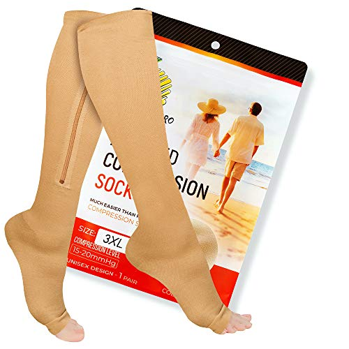 Zipper Compression Socks Pair with Zip Guard Skin Protection & Open Toe (sizes Med to 6XL)- 15-20mmHg Medical Compression Socks for Men & Women