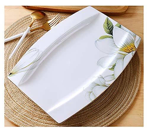 YSJJPQC Plato de Cena 12 Pulgadas, Fino Plato de Pescado de Porcelana, Placas de Alimentos de Porcelana Loral para la Cena, Placa de Pescado Buffet, Placa de porción de cerámica