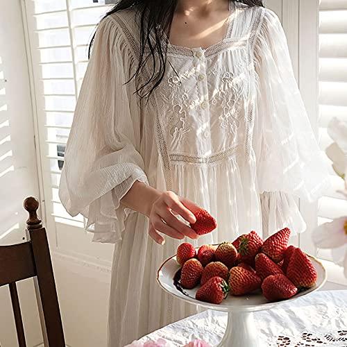 Stool Dame Nachthemd Baumwolle Lange Nachtwäsche Vintage Viktorianischen Nachthemd Langarm Nachtwäsche Weiche Damen Lässige Weiße Pyjamas Sets,Weiß,S