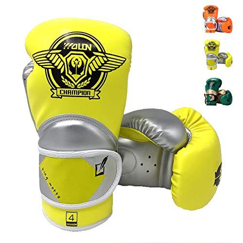 HUINING Guantes de boxeo para niños, entrenamiento para niños de 3 a 15 años, dibujos animados Sparring Junior Punch PU cuero guantes de boxeo de protección juvenil (plata amarilla, 4 oz)