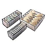 TAECOOOL Caja de almacenamiento de ropa interior de tres piezas, organizador de almacenamiento de ropa interior, caja de malla con rejilla 6/7/11, apto para ropa interior, sujetador, calcetines,negro