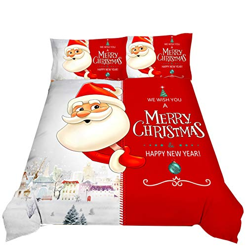 Santa Claus Duvet Cover Set, Red / white with Pillow Case Zipper Closure Microfiber Soft Comfortable Classic Christmas Pattern Double Quilt Bedding Sets for Bedroom Decoration 3 PCS,Red,230*260CM