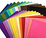 28枚 柔らかいタイプ 羊毛フェルト クラフト DIY手芸用 不織布 選べるサイズ1.4mm厚 カラフル 28色セット ( 20cm x 20cm)