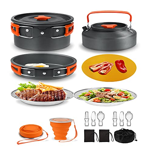 Outdoor Ultralight Camping Cookware Mess Kit with 1.1L Kettle, Pot, Pan, 2 Plates, 2 Foldable Cups, 2 Fork Spoon Kits, Chopping Board, Camping Cooking Set for Outdoor Backpacking Hiking Picnic Fishing