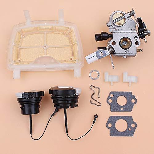 Tiempo Beixi Filtro de Aire del carburador Cap Fuel Oil Kit Perro trinquete Compatible con STIHL MS171 MS181 MS211 MS201 MS 171 181 201 211 120 0619 1139 Motosierra