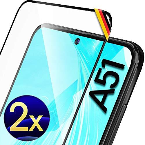 UTECTION 2X Full Screen Schutzglas für Samsung Galaxy A51 2020 - Fingerabdrucksensor kompatibel - 3D Schutzfolie gegen Bildschirmschäden, Passexakte Schutzglasfolie 9H Bildschirmschutzfolie Glas