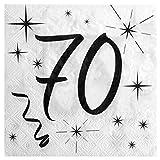 """Servietten mit Geburtstags-Motiv """"70"""" Jahre, 20 Stück"""
