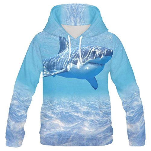 INTERESTPRINT Custom Ocean Wildlife Great White Shark Teenager's Pullover Hoodies Sweatshirt S