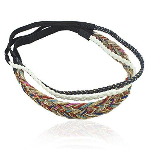 LUX Zubehör Rainbow Woven Wildleder geflochten Stretch Stirnband Head Band 3PC Set