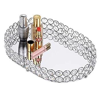 Hipiwe Mirrored Crystal Vanity Makeup Tray Ornate Jewelry Trinket Decorative Tray Cosmetic Perfume Display Organizer Tray,Home Decor Tray for Dresser/Bathroom 11.8  x 8