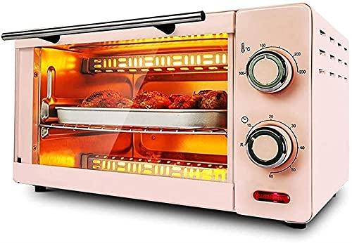 JQDMBH Horno eléctrico,Horno Sobremesa Horno eléctrico, Hornear for Hornear Multifuncional Horno de Pastel de 11 litros Horno eléctrico Freidora (Color : Pink)