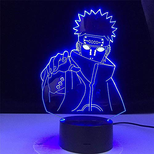 GEZHF 3D Optical Illusion Lamp Six Paths of Pain Naruto Nagato Figure Led Colors Changing Child Bedroom Nightlight Birthday Gift Table Lamp -16 Color with Remote