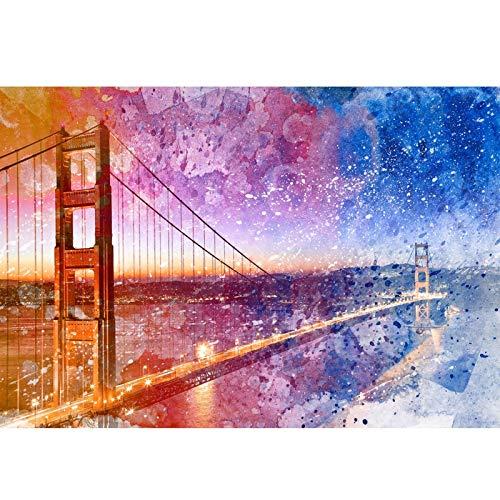 Pintura de Rompecabezas para Adultos 300 500 1000 Puzzles de cartón de Arte Fino Edificio Acuarela para la Mejor decoración del hogar AE66 (Color : A, Size : 1000PC)