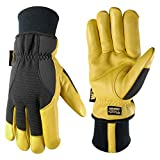 Men's Insulated HydraHyde Water-Resistant Leather Palm Winter Work Gloves, Large (Wells Lamont 1206)