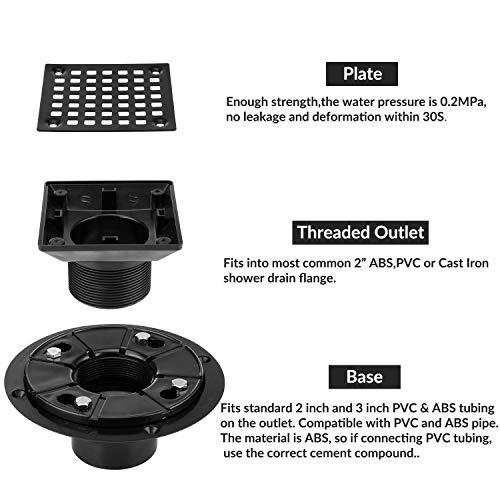 Square Design Tile-In Floor Shower Drain, ABS Adjustable Shower Drain Base,Lower Drain Body Fit 2