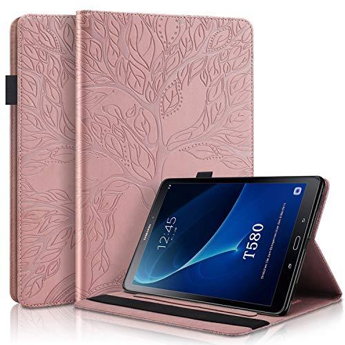 L&Btech Samsung Galaxy Tab A 10.1 2016 Funda SM-T580 / T585 Ligero PU Cuero Flip Case Carcasa con Bolsillo de Tarjeta Soporte Múltiple Ángulo, para Galaxy Tab A 10.1 Pulgada 2016 - Oro Rosado