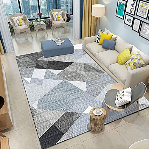 "alfombras habitacion Matrimonio La Alfombra Gris y Azul de Baja Pila en la Sala de Estar es fácil de cuidar Alfombra Cuarto alfonbras Infantil 160x200cm 5ft 3"" X6ft 6.7"""