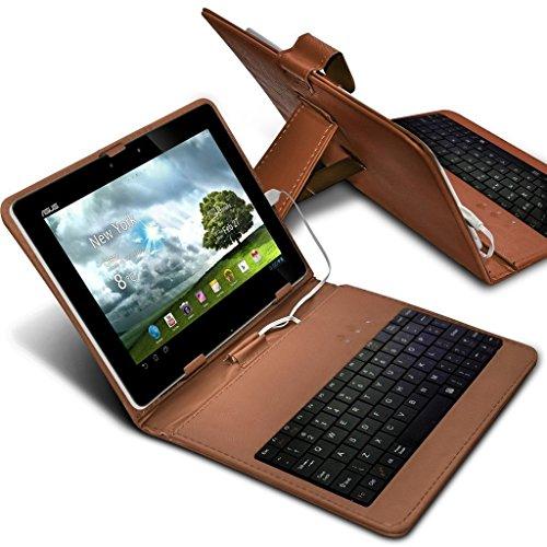 Aventus Tablet Teclado QWERTY de piel sintética ajustable función atril para Android Tablet con conexión micro USB Amazon Fire HD Tablet marrón