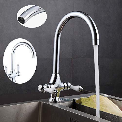 Kitchen Mixer Tap Traditional Elegant White Ceramic Dual Lever Handle Monobloc Hot and Cold Water Faucets with 2 Hoses 360° Swivel Spout Chrome Kitchen Sink Taps