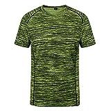 DamaiOpeningcs Camiseta ligera de secado rápido de manga larga, cuello redondo, camiseta deportiva elástica, color verde fluorescente, 3XL