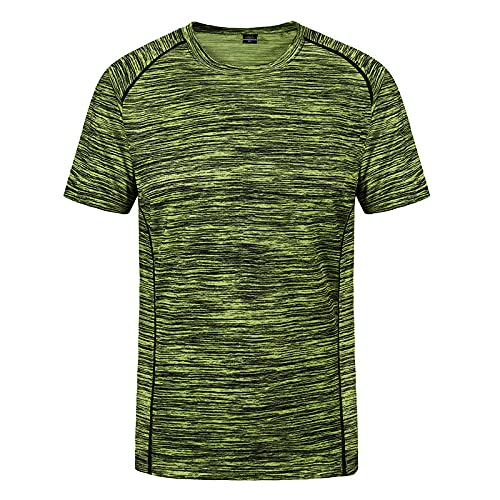 DamaiOpeningcs Camiseta de verano para exteriores, senderismo, de secado rápido, manga corta, cuello redondo, deportiva, elástica, verde luminoso, XL.