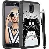 Voanice for Samsung Galaxy J7 Crown Case /J7 Star /J7 2018/J7 Refine/J7 Top/J7 Aero/J7 Aura/J7 Eon,Shockproof Protective Hybrid Heavy Duty Dual Layer Women Men Girls Phone Cover&Stylus-Cute Black Cats
