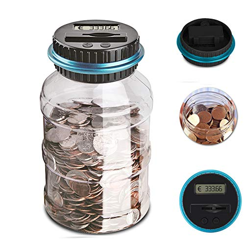 Konesky Contador Digital de Hucha per EUR, Automático Moneda Contando Caja de Dinero, Banco de Dinero Seguro Moneda de Ahorro de Contenedores de Pote Pantalla LCD y Gran Capacid(1.5L)