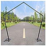 Arco de soporte de telón de fondo del Pentágono de metal de 2,5 m / 8,2 pies - Accesorios de boda DIY Hierro Pentágono Estante Fiesta Photo Booth Decoraciones Suministros (Blanco / Dorado / Negro)