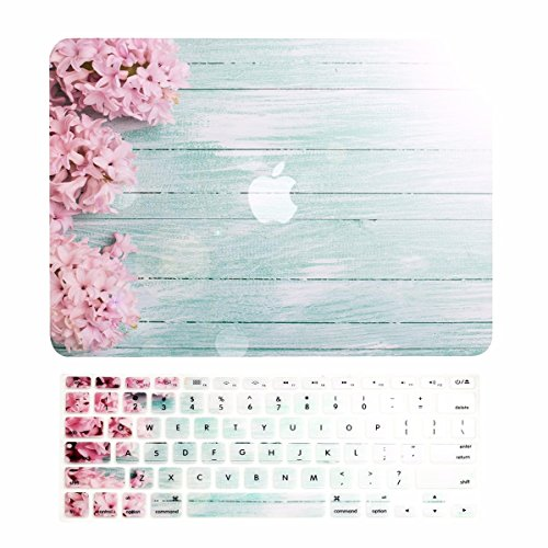 TOP CASE - 2 in 1 Signature Bundle Graphics Matte Hard Case (Screen Size 13' Diagonally) + Keyboard Cover Compatible MacBook Air 13' A1369 & A1466 (Older Version, Release 2010-2017) - Pink Hyacinth
