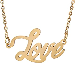 AIJIAO Personalized Nameplate Necklace Pendant My Name Custom of Stainless Steel for Women/Men Gift