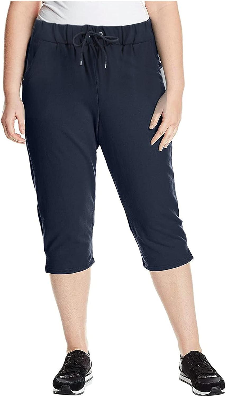 NREALY Yoga Pants with Pocket for Women Drawstring Stretch Plus Size Capri Pants