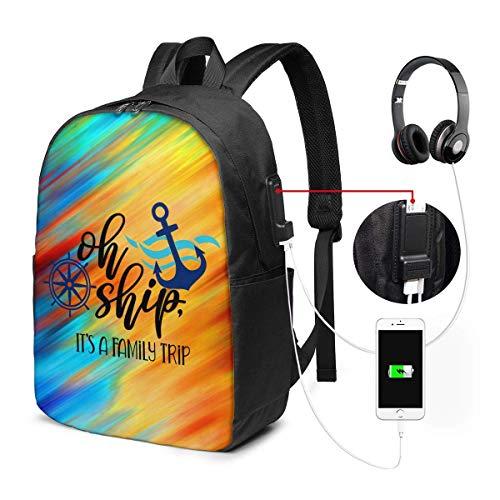 Oh Schiff, es ist EIN Familienausflug USB-Rucksack 17 im Reiserucksack Multifunktionale College-Büchertasche mit USB-Ladeanschluss
