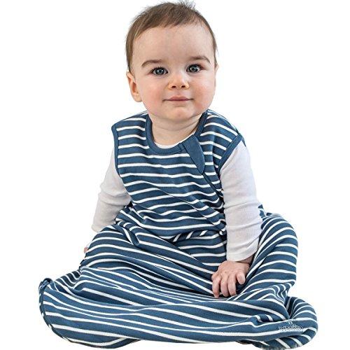 Woolino Baby-Schlaf Tasche 4 Jahreszeiten grundlegende Merino Wolle Baby-Schlafsack 0-6 Monate Navy-blau
