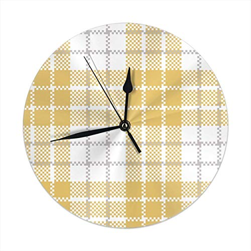 Mesllings Reloj de pared redondo de color amarillo y blanco a cuadros para decoración del hogar, sala de estar, cocina, dormitorio, oficina, escuela, 25 cm