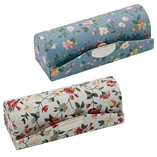 2 Pack Motif Floral Élégant de la Étui de Rouge à lèvres Miroir, Rangements Rouge à Lèvres (Blanc et Bleu)