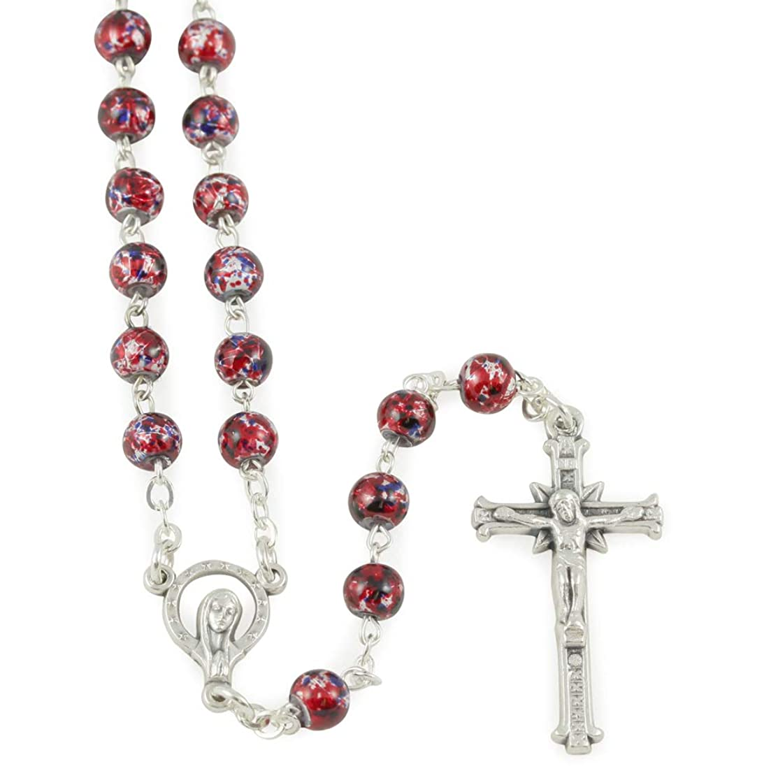 Rosary with Violet and Red Puntinato Beads