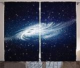 ABAKUHAUS Espacio Exterior Cortinas, Galaxia del Espacio de la vía láctea, Sala de Estar Dormitorio Cortinas Ventana Set de Dos Paños, 280 x 260 cm, Azul Marino Blanco