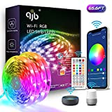 QJB Alexa LED Strip Lights 65.6ft - Smart WiFi LED Strip Lights Works with Alexa Google Assistant, Music Sync RGB Color Changing Light for Bedroom,Living Room, Kitchen