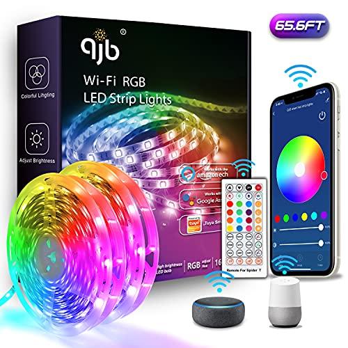 QJB Alexa LED Strip Lights 65.6ft - Smart WiFi LED Strip Lights Works with Alexa Google Assistant, Music Sync RGB Color...