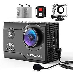 COOAU 4K Action Cam 20MP WiFi Sports Kamera Unterwasserkamera 40m mit Externs Mikrofon Fernbedienung Helmkamera Wasserdicht Digitale Videokamera mit EIS Stabilisierung Zeitraffer 2x1200mAh Akkus (4k)