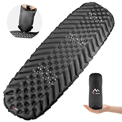 BAGLOBAL Camping Sleeping Pad for Adults, Self Inflating Camping Mat with Inflated Bag and Two-Way Valve, Lightweight, Anti-Slip & Waterproof Best Sleeping Mat for Backpacking Hiking Tent (Black)