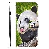 vingarshern Hülle für Meizu M15 Handytasche Klappbares Magnetverschluss Lederhülle Flip Etui Standfunktion Schutzhülle Meizu M15 Hülle Leder Brieftasche(Panda) MEHRWEG